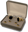 U.S. MILITARY BLACK ONYX CUFF LINKS AND STUDS (GOLD BACKING)