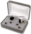 U.S. MILITARY BLACK ONYX CUFF LINKS AND STUDS (SILVER BACKING)