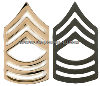 U.S. ARMY PIN-ON METAL MASTER SERGEANT CHEVRONS