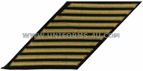 Navy Enlisted Hash marks gold embroidered on serge set of 10.