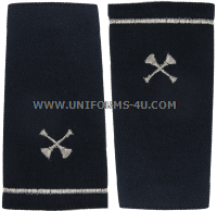 USAF FIRE EMERGENCY SERVICES SHOULDER MARKS (2 CROSSED SILVER TRUMPETS)
