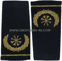 USAF DEPUTY FIRE CHIEF SHOULDER MARKS (4 CROSSED GOLD TRUMPETS)
