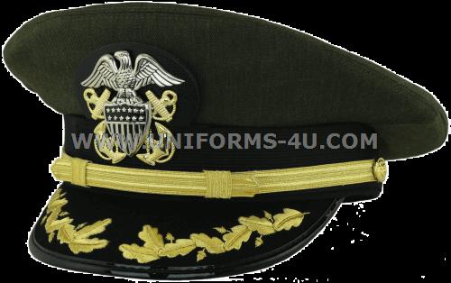 dace16242 U.S. NAVY CAPTAIN / COMMANDER AVIATION GREEN COMBINATION CAP