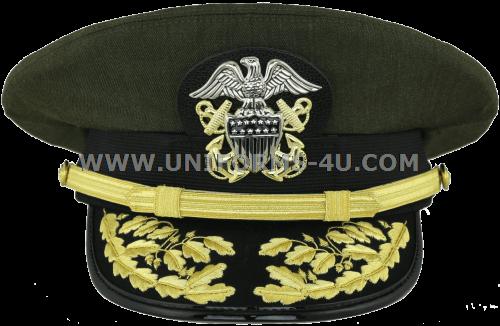 149696f8b U.S. NAVY ADMIRAL AVIATION GREEN COMBINATION CAP (O-7 TO O-10)