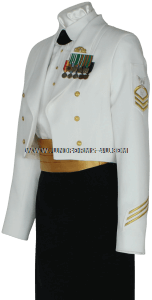 us ncoast guard female enlisted / cpo dinner dress white uniform