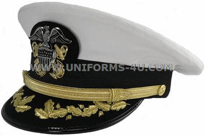 COMMANDER WHITE OFFICER HAT CAP VISOR US NAVY CAPTAIN