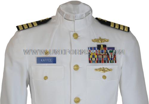 Service dress white uniform.