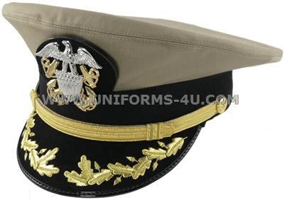 U S  NAVY COMMANDER / CAPTAIN KHAKI COMBINATION CAP (O-5, O-6)