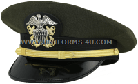 U.S. NAVY OFFICER AVIATION GREEN COMBINATION CAP (O1-O4, CW2-CW5)