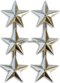 THREE STAR POINT TO CENTER NICKEL PLATED SHOULDER RANK
