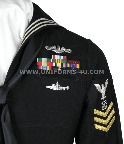 Navy dress blues service stripe placement