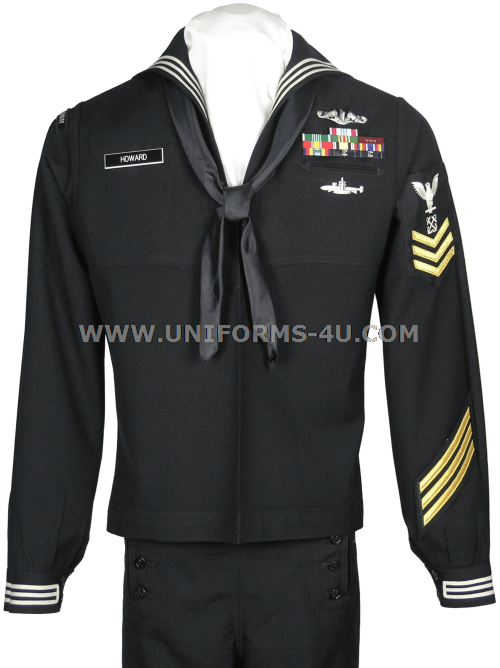 us navy enlisted dress blue uniform also known as the crackerjack ...