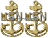 us navy chief petty officer collar devices - clutch back