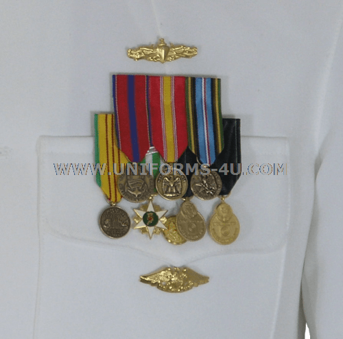 Navy mess dress mini medal placement on army
