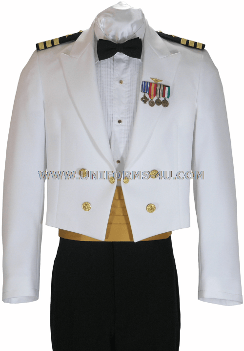 The US Navy Dinner Dress White Uniform is worn to official functions ...