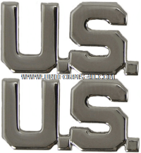 AIR FORCE COLLAR INSIGNIA MIRROR FINISH U.S. LETTERS OFFICER