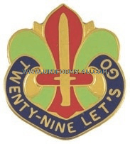 U.S ARMY 29TH INFANTRY DIVISION UNIT CREST