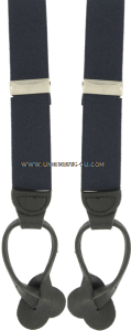 air force blue suspenders with leather end