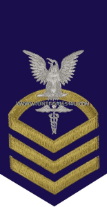 uscg e7 health services technician (hs) blue rating badge